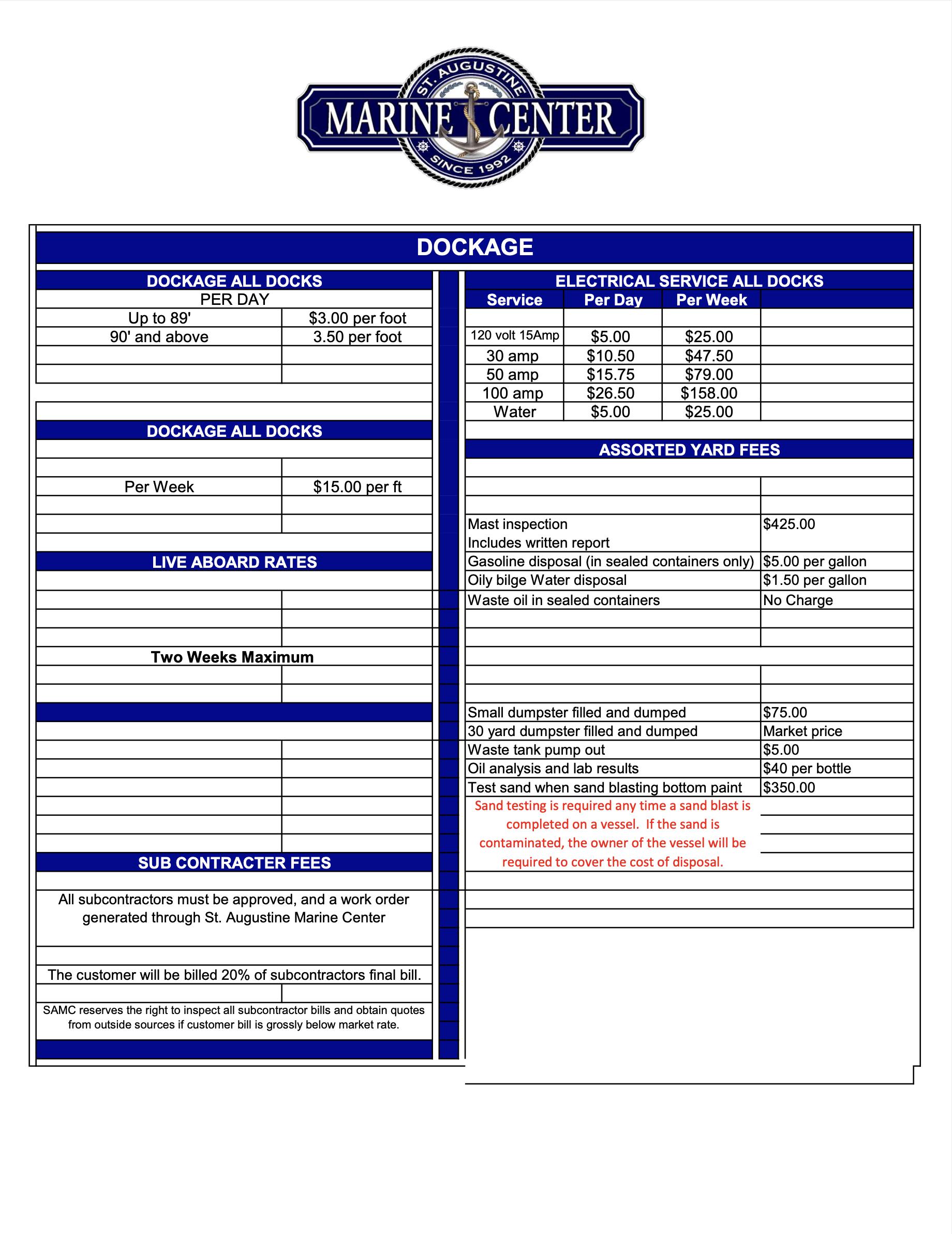 St Augustine Marine Center Rates 10-21 p2
