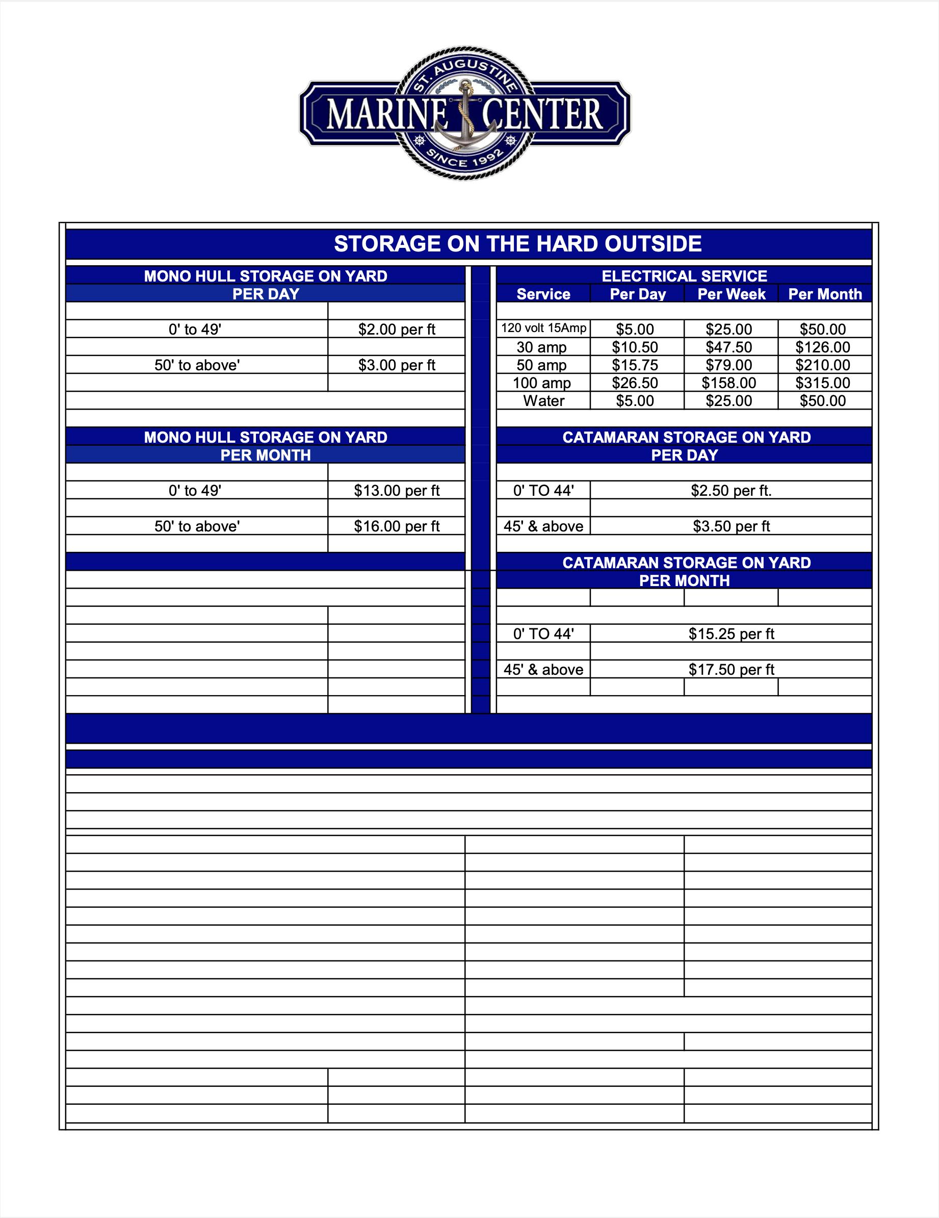 St Augustine Marine Center Rates 10-21 p3